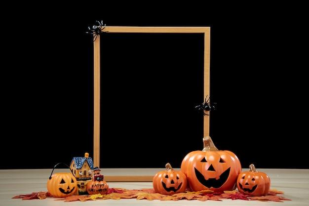 Rahmen und jack o laterne halloween dekoration kürbis mit hexenhut