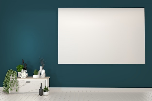 Rahmen und weiße kabinette fernsehapparat in einem dunkelgrünen raum und in einer decoration.3d wiedergabe