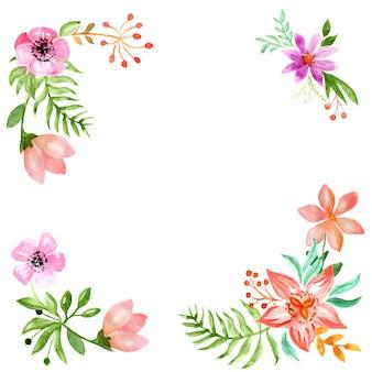 Rahmen von aquarellblumenblumen verlässt farnbeeren und -knospen lokalisiert auf einem weißen hintergrund
