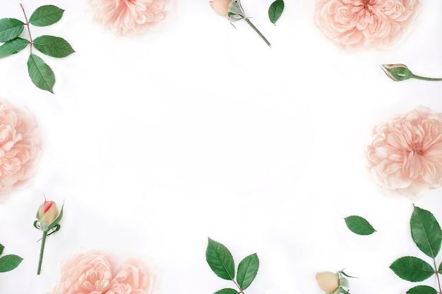 Rahmen von rosa rosen und knospen mit grünen blättern auf weißem tischhintergrund.