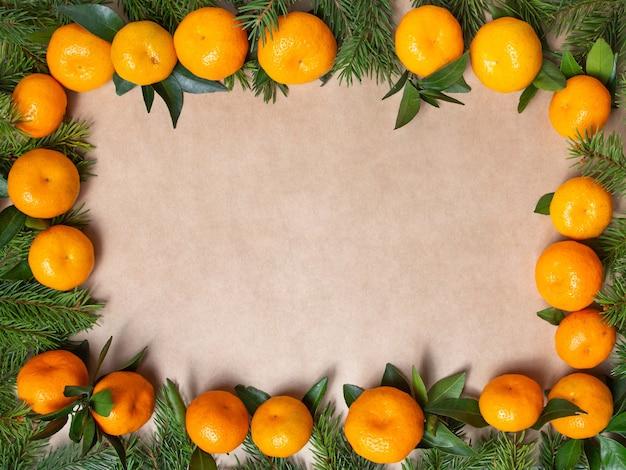 Rahmen von zweigen der fichte und der mandarinen auf einem weißen hintergrund. attrappe, lehrmodell, simulation. neuer yaer rahmen.