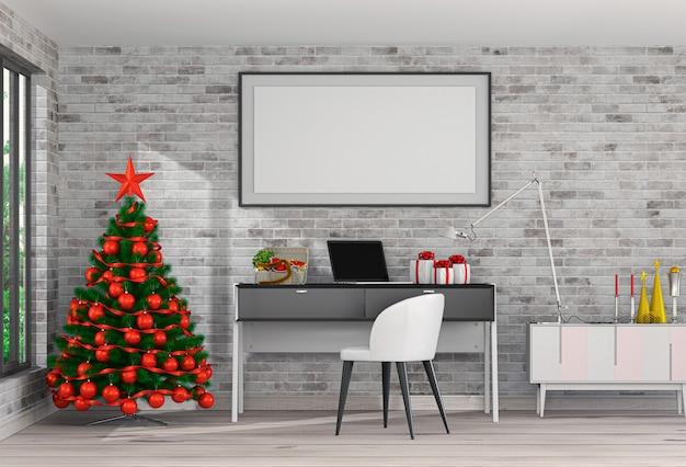 Rahmen weihnachten innenraum arbeitsraum. 3d-rendering