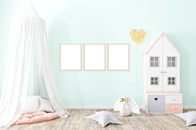Rahmenmodell a4 babyzimmer mit rosa tapete