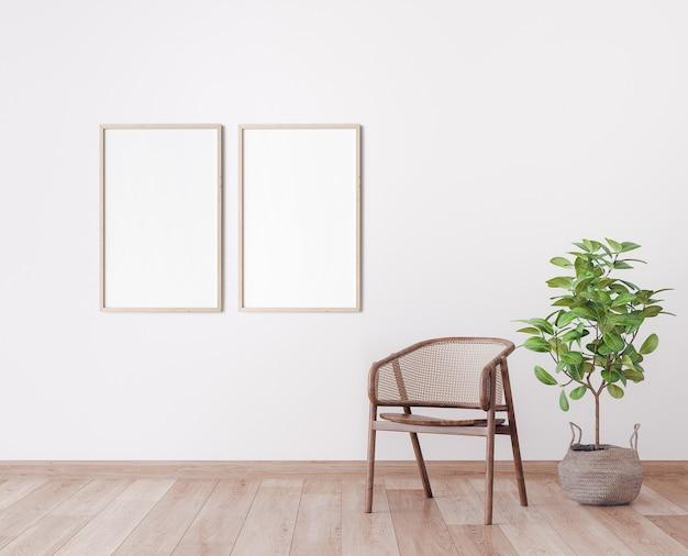 Rahmenmodell im minimalen hölzernen wohnzimmerdesign