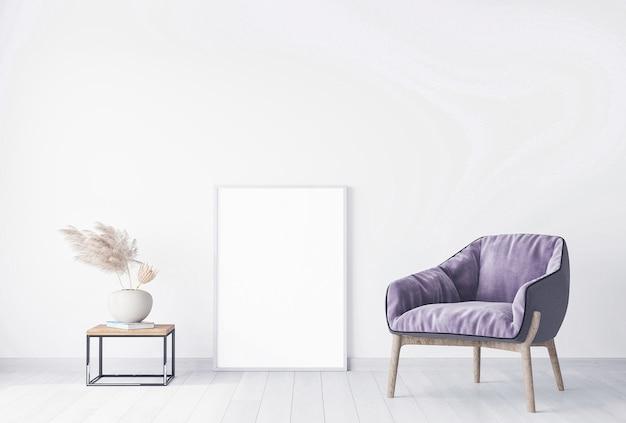 Rahmenmodell im modernen hellen wohnzimmer