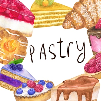 Rahmenvorlage mit leckeren desserts für eine konditorei. hand gezeichnete aquarellillustration. auf weißer wand isoliert.