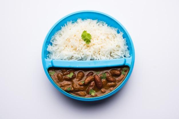 Rajmah reis oder razma chawal in tiffin oder lunchbox, selektiver fokus