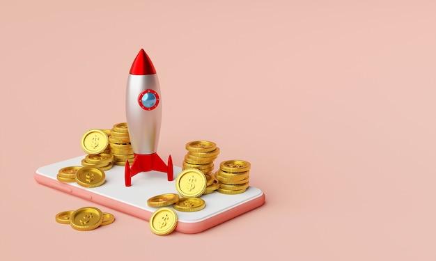 Rakete auf smartphone mit dollarmünze