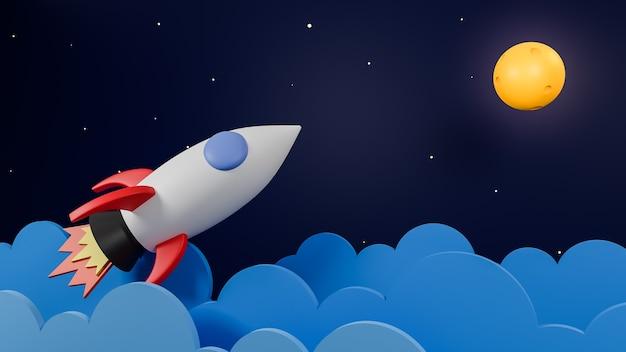 Rakete, die über wolke fliegt, gehen zum mond auf galaxienhintergrund. geschäftsstartkonzept.3d modell und illustration.