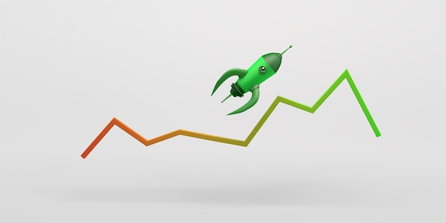 Rakete fliegt über grafik mit aufwärtsergebnissen startup 3d-darstellung