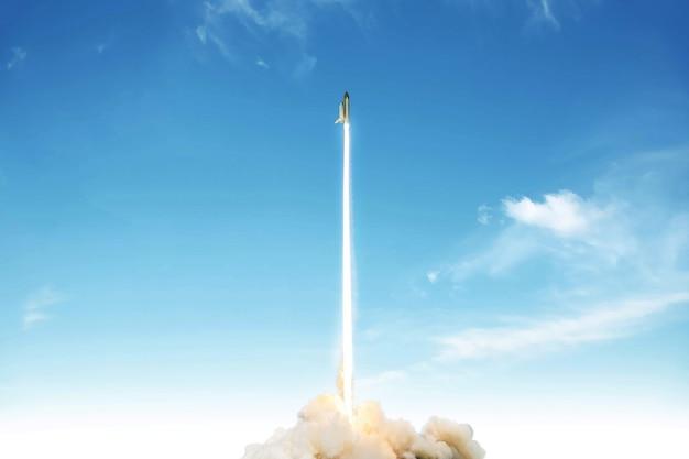 Rakete hebt ab und startet eine weltraummission am blauen himmel. raumschiff mit explosions- und rauchstart ins all