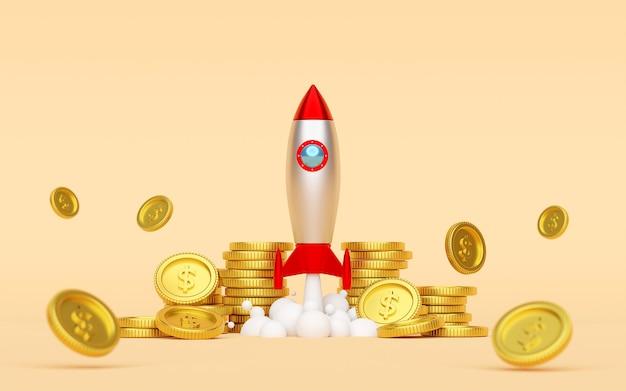 Rakete startet vom boden mit dollarmünze