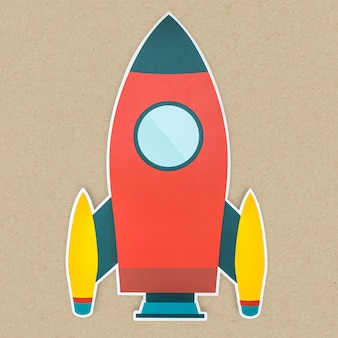 Rakete-symbol isoliert starten