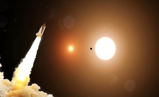 Raketen starten am sternenhimmel ins all. rakete startet ins weltraumkonzept.