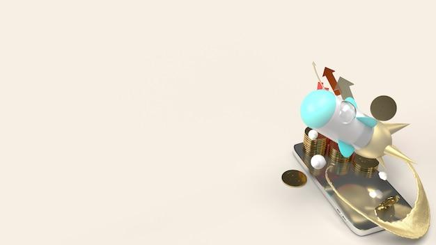 Raketenfliege auf handy-3d-rendering für startinhalte.