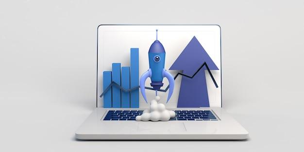 Raketenstart auf einem laptop mit balkendiagramm startup 3d-darstellung