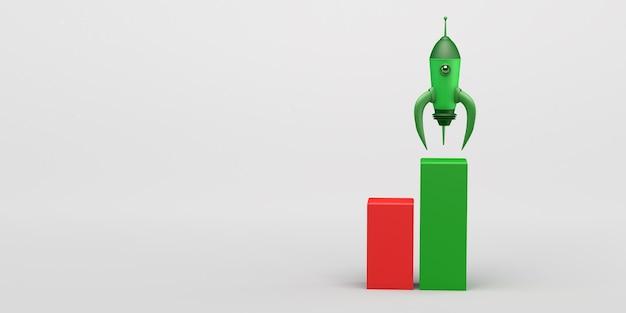 Raketenstart entwicklung eines neuen produkts oder einer neuen dienstleistung startup 3d-darstellung