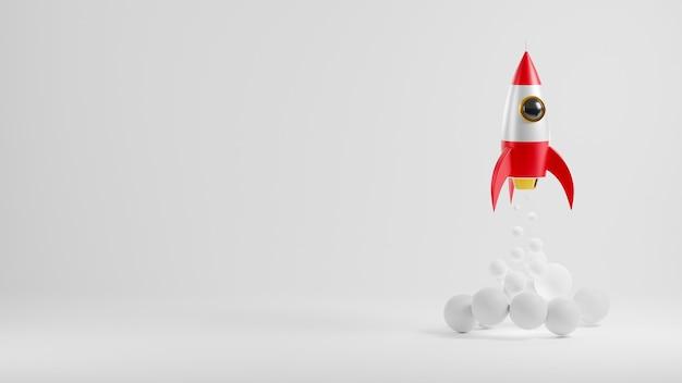 Raketenstart hat rauch am himmel, der über wolken 3d-rendering-illustration fliegt