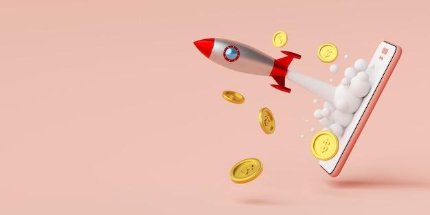 Raketenstart vom smartphone mit dollarmünze
