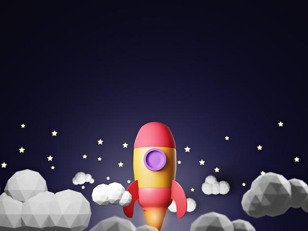 Raketenstart von 3d render of space