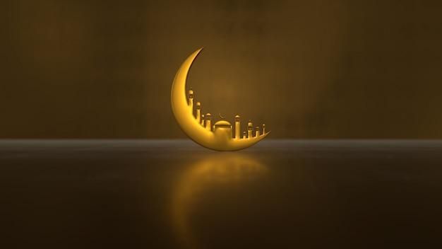 Ramadan kareem mit goldener mondmoschee auf hellem schatten