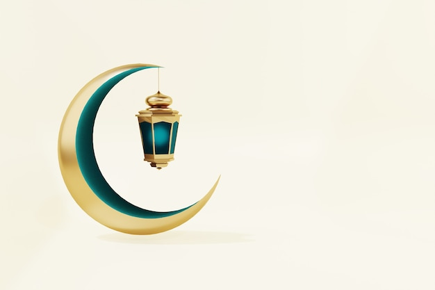 Ramadan kareem mond und laterne 3d render isoliert