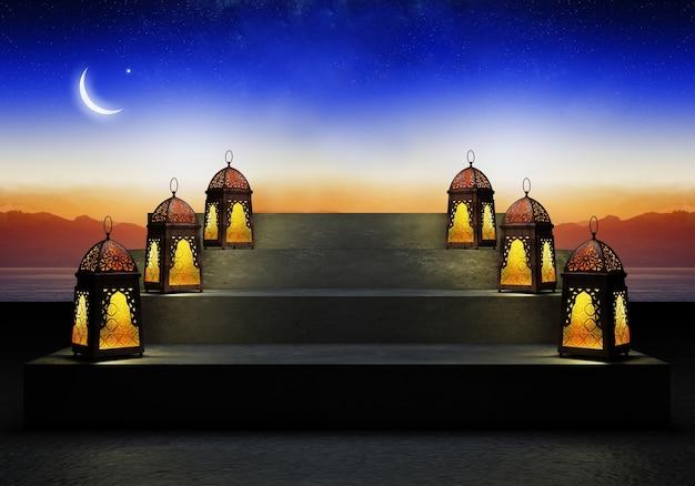 Ramadan kareem schön, grußkarte mit traditionellen arabischen laternen fanoos