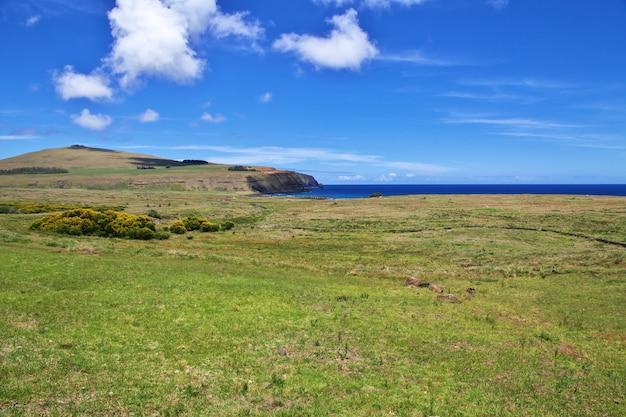 Rapa nui. die statue moai in ahu tongariki auf der osterinsel, chile