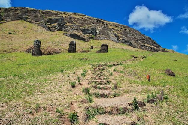 Rapa nui. statue moai in rano raraku auf der osterinsel, chile