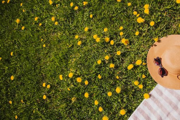 Rasen mit gelben blüten und sommerhut