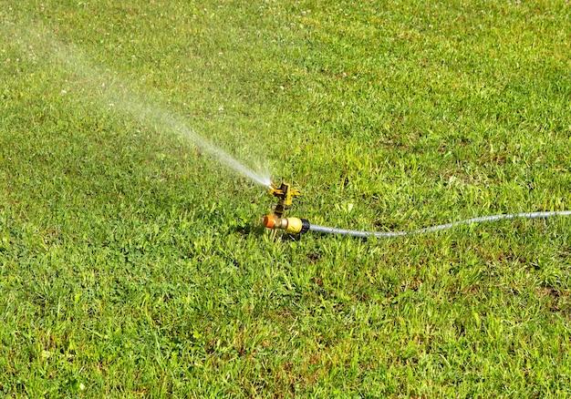 Rasenwassersprinkler sprüht wasser über grünes frisches gras des rasens