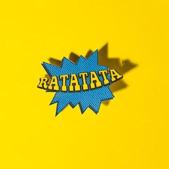Ratatata-vektor erläuterte comic-buch-artausdruck mit schatten auf gelbem hintergrund