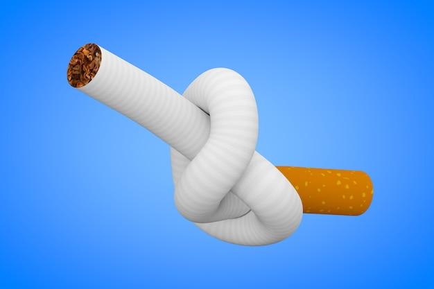 Rauchen aufhören konzept. zigarette an einen knoten gebunden auf blauem hintergrund 3d-rendering