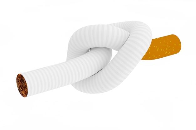Rauchen aufhören konzept. zigarette an einen knoten gebunden auf weißem hintergrund 3d-rendering