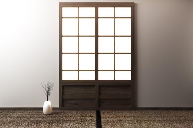 Raum leer mit tatami-matten und papierschiebetüren genannt shoji auf raum-zen-stil 3d-rendering