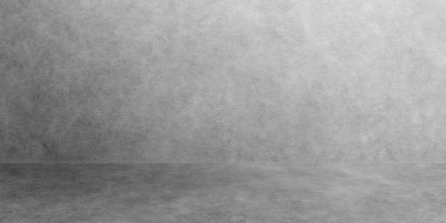 Raum leer von breitem zementboden mit grauem raumzement oder betonwandbeschaffenheitshintergrund und sonnenlicht.