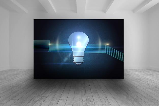 Raum mit futuristischem bild der glühlampe