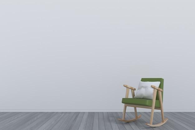 Raum mit grünem lehnsessel auf bretterboden
