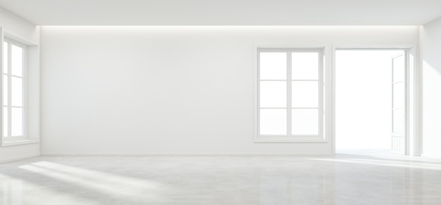 Raum mit konkretem boden und leerer wand im modernen haus.
