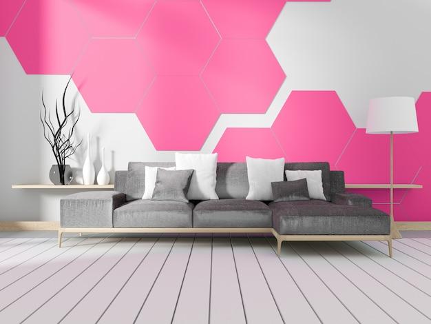 Raum mit sofa und rosa sechseckiger fliesenwand. 3d-rendering