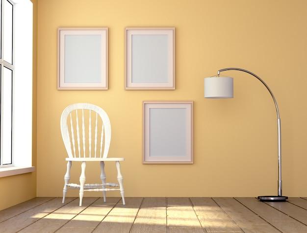 Raum mit tageslicht. weißer stuhl und eine hohe stehlampe. 3d-rendering.