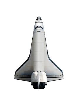 Raumfähre lokalisiert auf weißem hintergrund