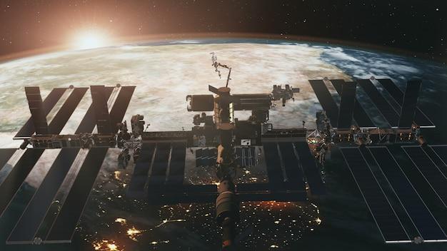 Raumfahrt der internationalen raumstation bei sonnenuntergang der erde in der 3d-animation.