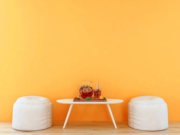 Rauminnenraum mit leerer orangefarbener wand mit weißen möbeln und aufgegossenem wasserset, 3d-rendering