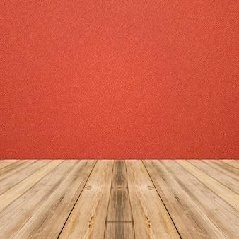 Rauminnenraum mit roter stoffwand und holzfußbodenhintergrund