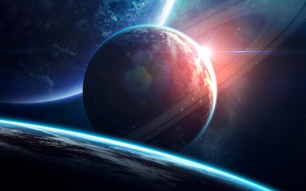 Raumkunst, unglaublich schöne science-fiction-tapete. endloses universum.