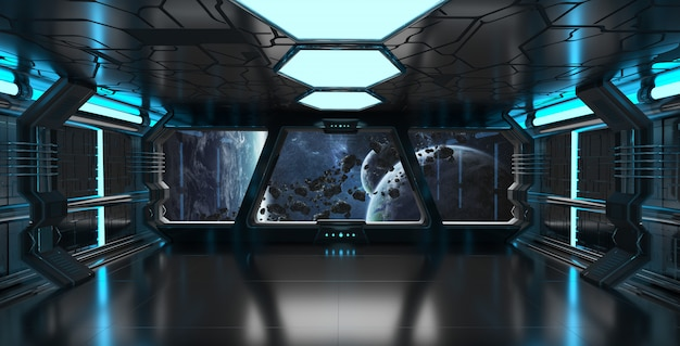 Raumschiffinnenraum mit ansicht über wiedergabeelemente des entfernten planetensystems 3d dieses bildes geliefert von der nasa