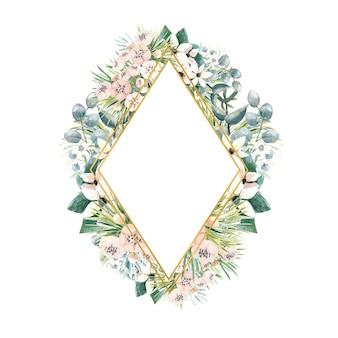 Rautenförmiger goldrahmen mit kleinen blüten aus actinidia, bouvardia, tropischen und palmblättern
