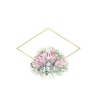 Rautenförmiger goldrahmen mit protea-blüten, tropischen blättern, palmblättern und bouvardia-blüten