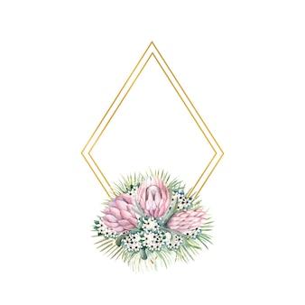Rautenförmiger goldrahmen mit proteablüten, tropischen blättern, palmblättern, bouvardienblüten